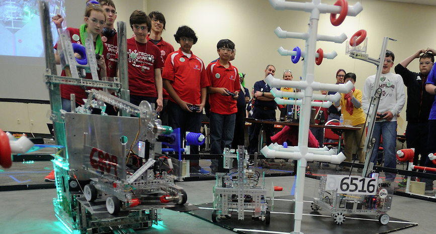 Students compete in a Robotics Competition.