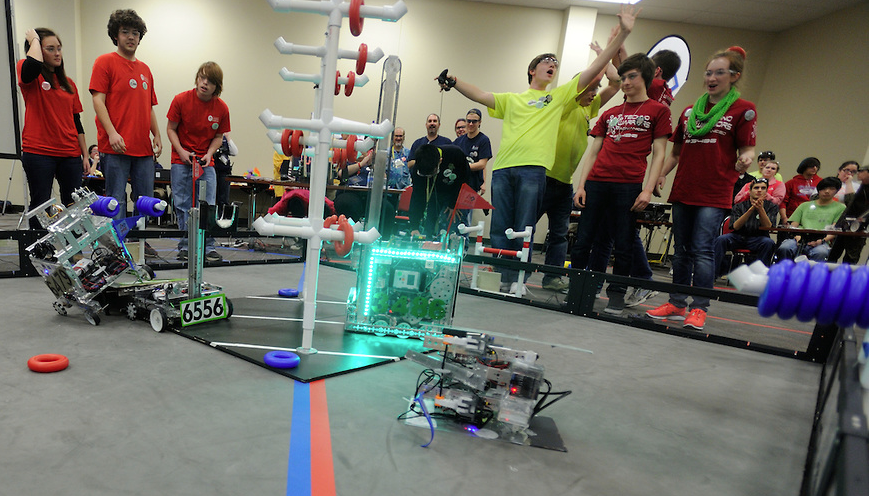 Students participate in a robotics competition.