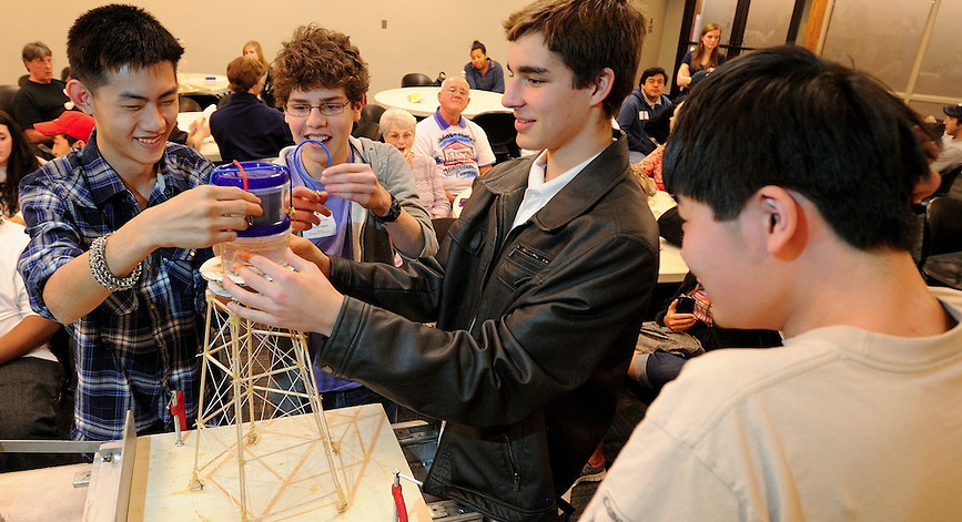 Students compete in a competition on Engineering Day.