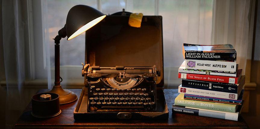 William Faulkner's typewriter is displayed at Rowan Oak.