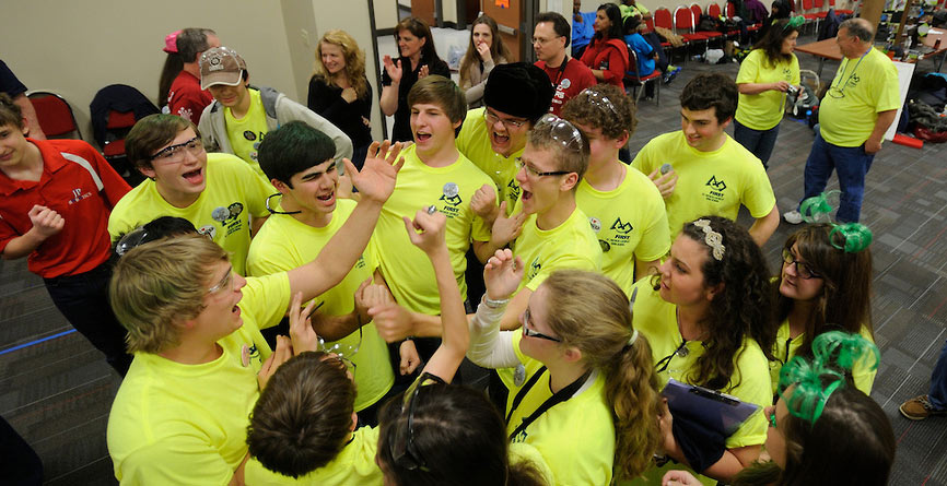 Students celebrate at the FIRST Tech Challenge.